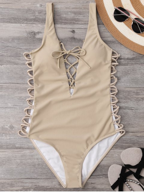 fancy Lace Up Plunging Neck Swimsuit - COMPLEXION M Mobile