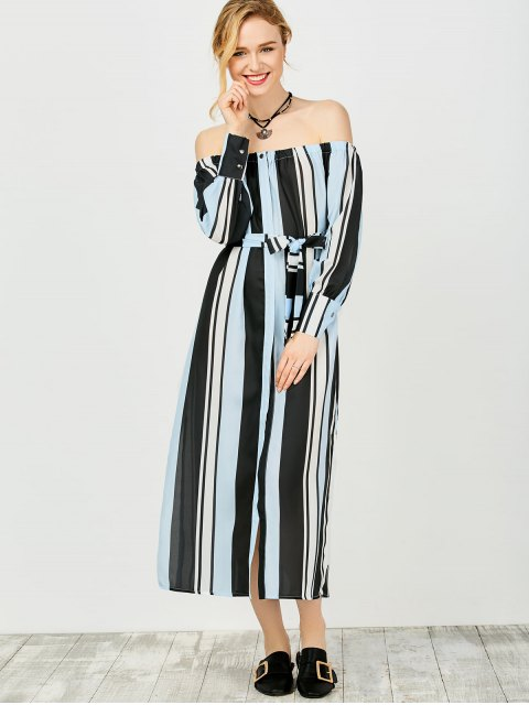 ladies Multi Stripes Off The Shoulder Dress - BLUE AND BLACK M Mobile