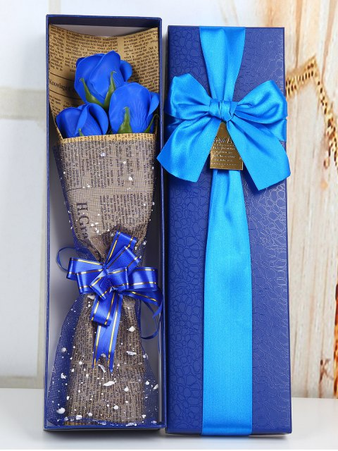 fashion Festival Gift Simulation Rose Soap Flowers Bouquet - BLUE  Mobile