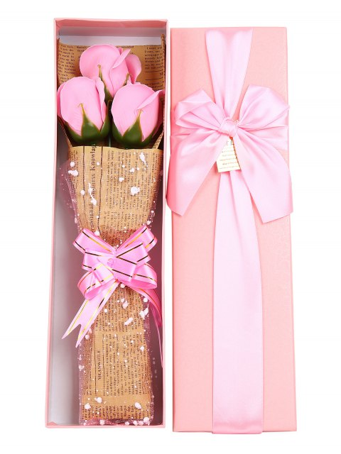 trendy Festival Gift Simulation Rose Soap Flowers Bouquet - PINK  Mobile