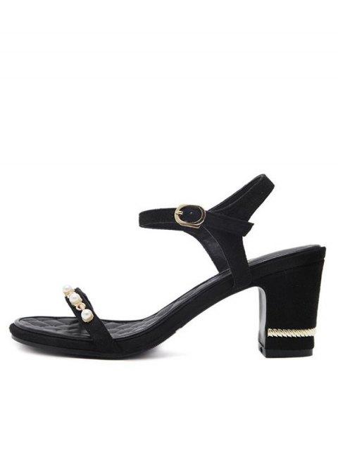 lady Suede Block Heel Faux Pearls Sandals - BLACK 37 Mobile
