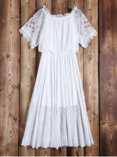 lady Off Shoulder Embroidered Lace Dress - WHITE L Mobile