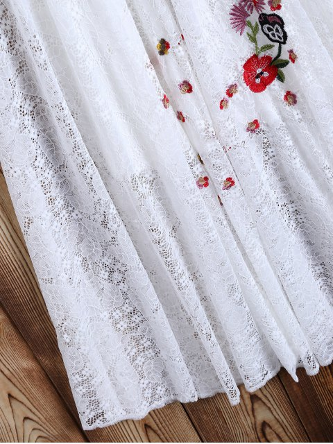 best Off Shoulder Embroidered Lace Dress - WHITE M Mobile