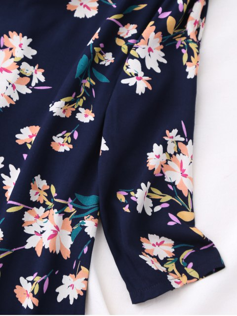 unique V Neck Floral Print Flared Dress - PURPLISH BLUE M Mobile