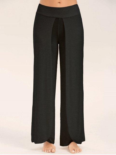 womens High Slit Palazzo Pants - BLACK M Mobile