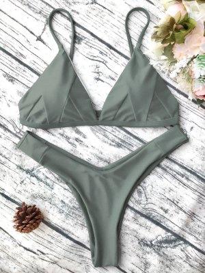Bikini Caraco Rembourré - Vert Armée