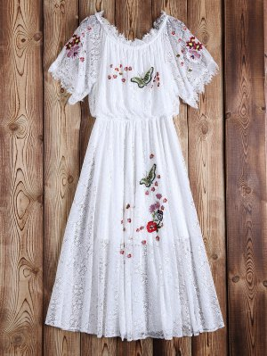 Off Shoulder Embroidered Lace Dress - White