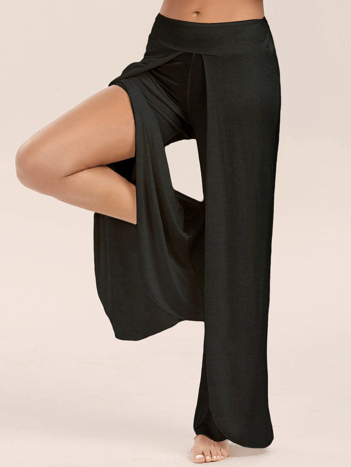 High Split Wide Leg Flowy Pants - BLACK 2XL