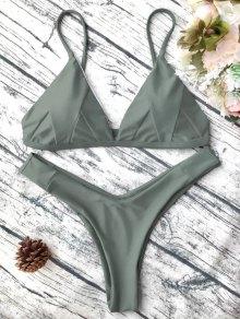 Soft Padded Cami Shell Bikini Set - Army Green M