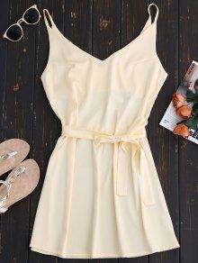 Mini Cami Slip Dress With Choker Strap - Apricot
