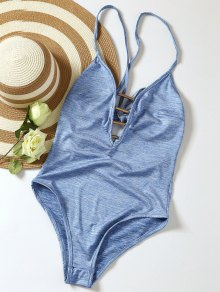 Lace Up Plunge Neck Monokini - Light Blue M