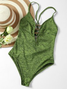 Lace Up Plunge Neck Monokini - Army Green L
