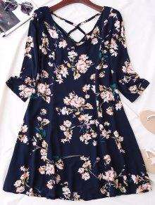 V Neck Floral Print Flared Dress - Purplish Blue Xl