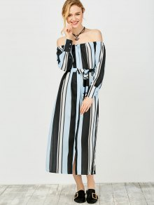 Multi Stripes Off The Shoulder Dress - Blue And Black L