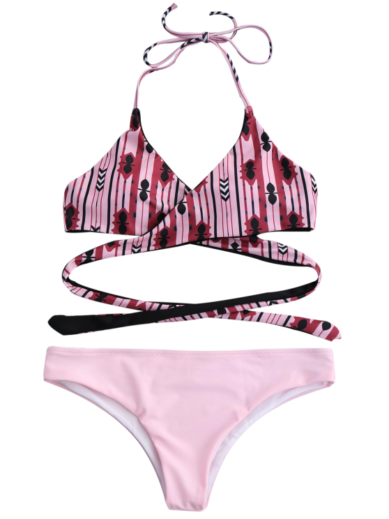 Halter Geometric Pattern Wrap Bathing Suit - PINK S Mobile