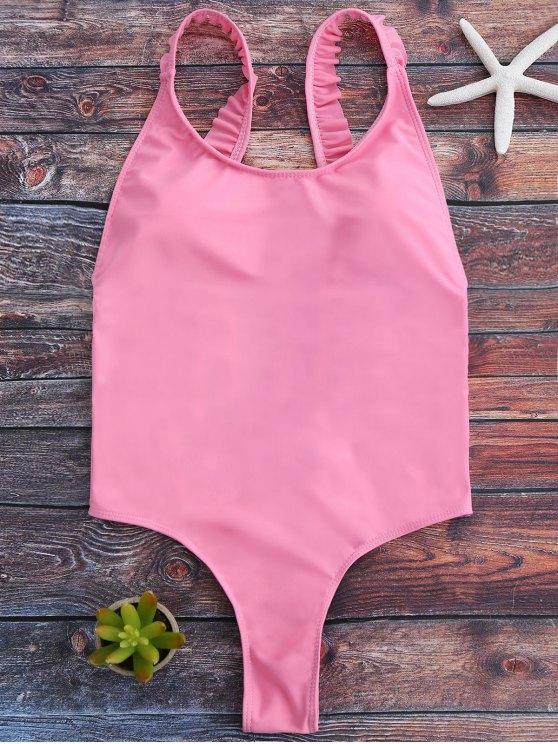 Cross Back Ruffles Thong Swimwear - PINK M Mobile