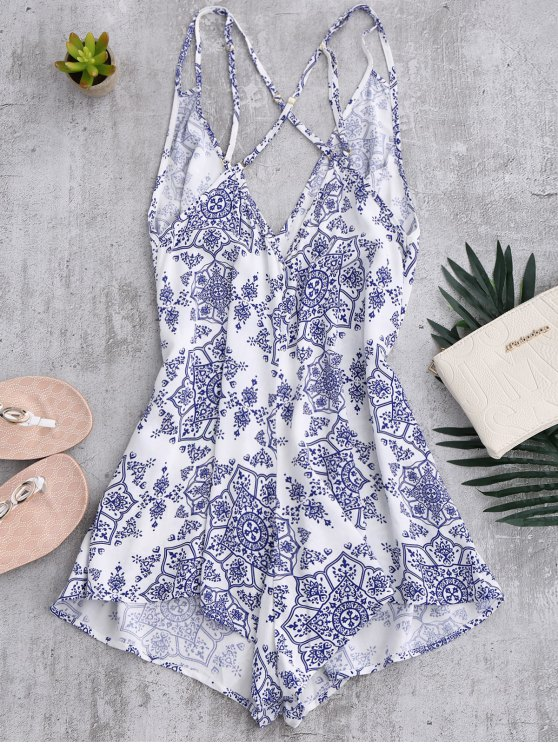 Back Crossed Printed Romper - BLUE AND WHITE M Mobile
