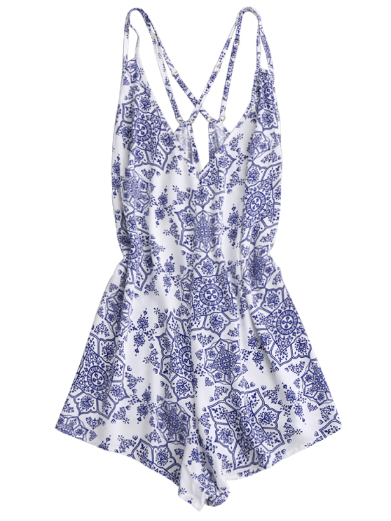 Back Crossed Printed Romper - BLUE AND WHITE S Mobile