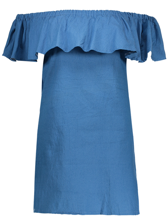Mini Ruffles Off The Shoulder Dress - BLUE S Mobile
