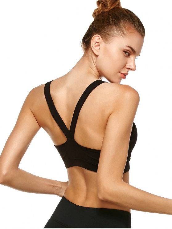 Pullover Sport Bra Sweat Top - BLACK M Mobile