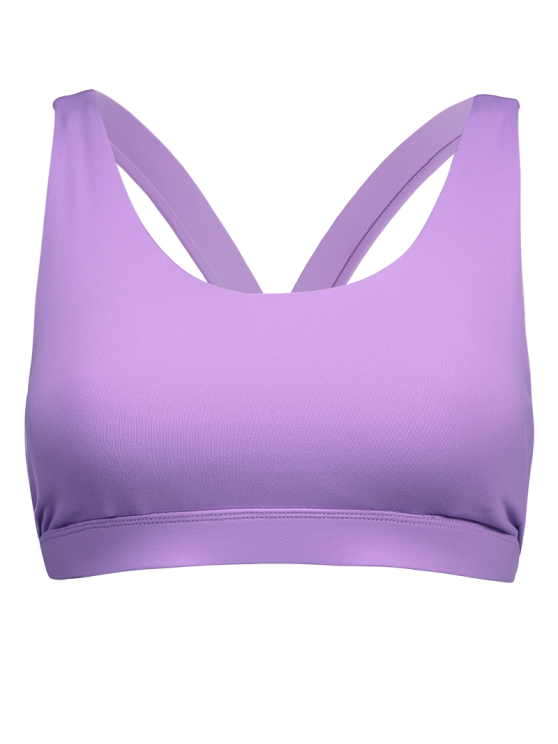 Pullover Sport Bra Sweat Top - PURPLE M Mobile