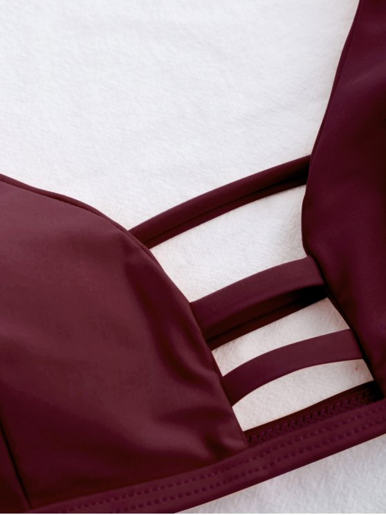 Banded Ladder Cut Out Bathing Suit - BURGUNDY S Mobile