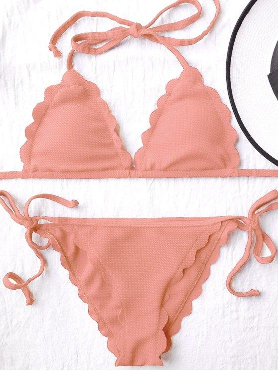Festoneado lazos laterales Cadena de baño bikini - Naranja Rosa S