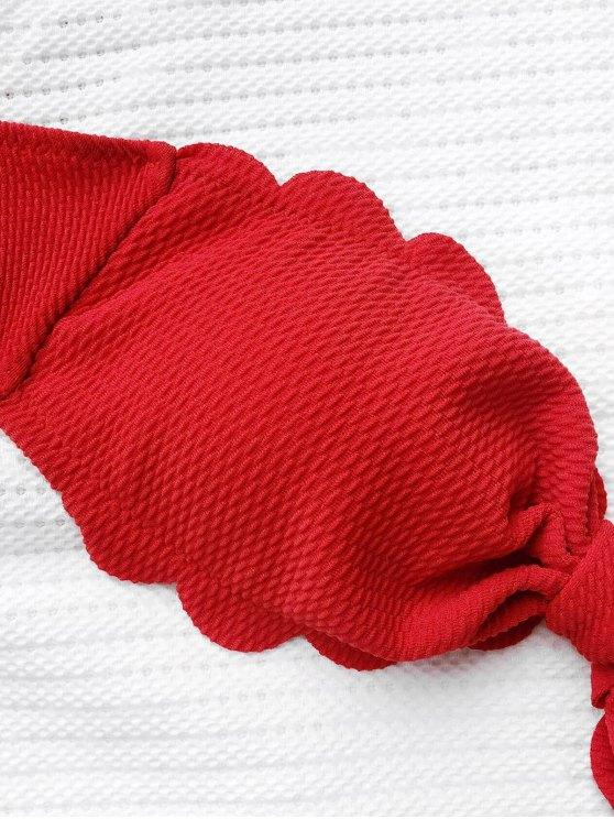 Scalloped Hem Bandeau Bikini Set - RED L Mobile