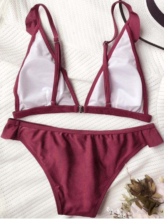 Plunging Neck Ruffles Bikini Set - BURGUNDY M Mobile