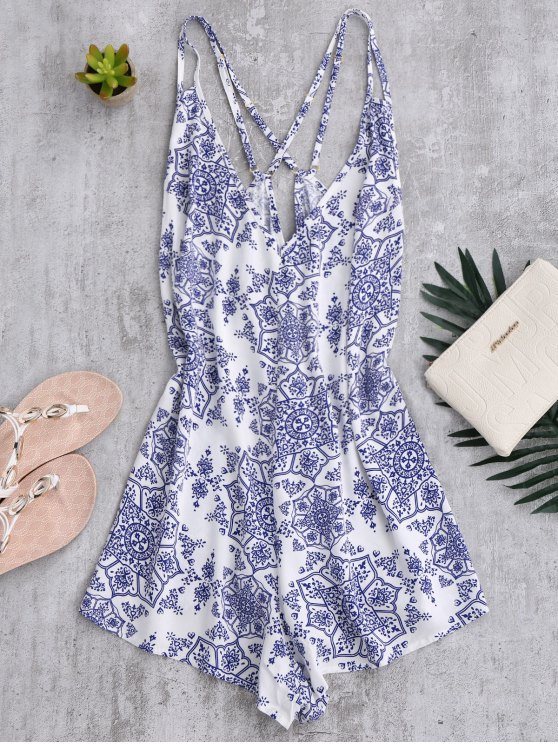 new Back Crossed Printed Romper - BLUE AND WHITE S