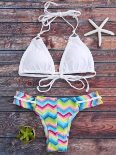 Halter Colorful Zig Zag Bikini Set - White L