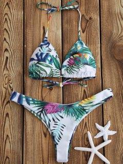 Ensemble De Bikini  Lacets Imprimé à Motif De Palmier Tropical - Blanc S