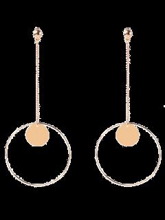 Circle Chain Disc Drop Earrings - Golden