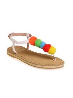 Faux Leather Pompon Sandals - White 39