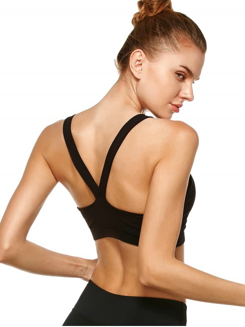 hot Pullover Sport Bra Sweat Top - BLACK S Mobile