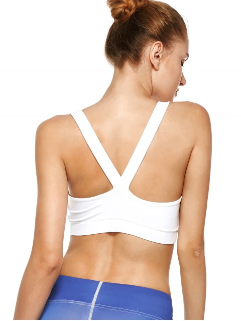 unique Pullover Sport Bra Sweat Top - WHITE L Mobile