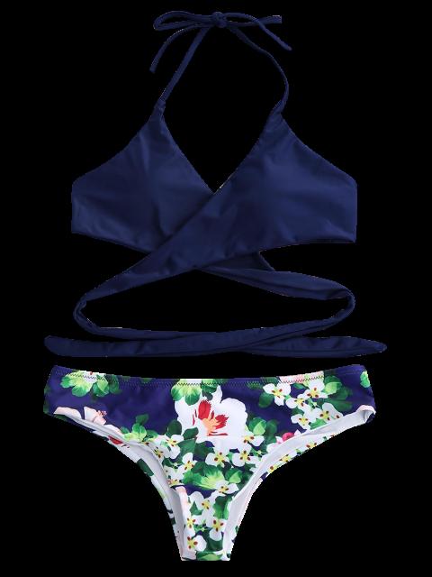 sale Halter Floral Wrap Bathing Suit - ROYAL S Mobile