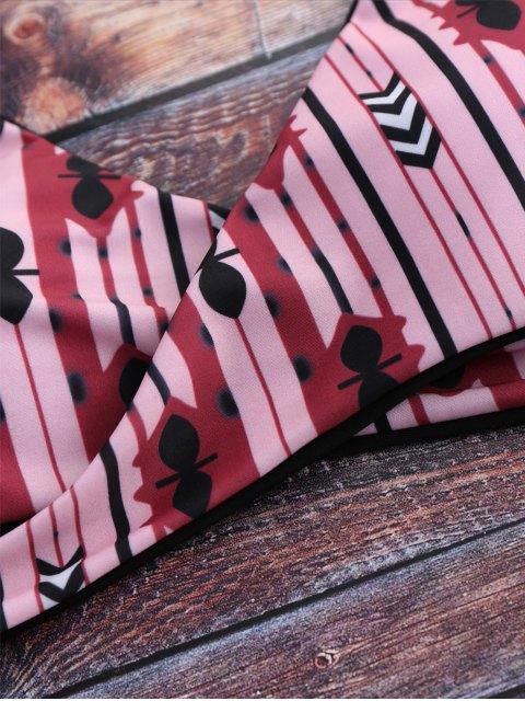 best Halter Geometric Pattern Wrap Bathing Suit - PINK S Mobile