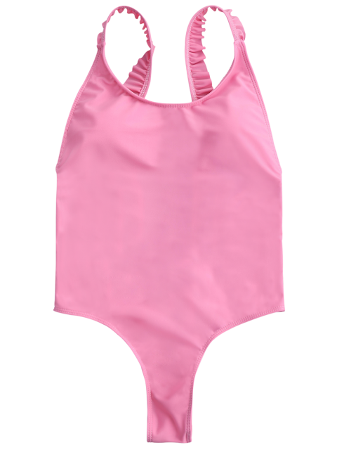 affordable Cross Back Ruffles Thong Swimwear - PINK M Mobile