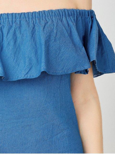 shop Mini Ruffles Off The Shoulder Dress - BLUE S Mobile