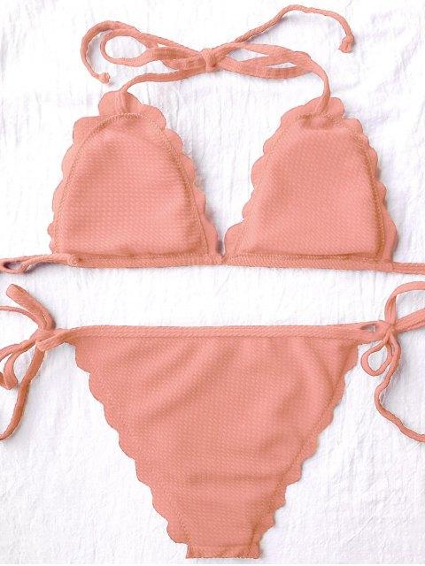shops Scalloped Tie Side String Bikini Swimwear - ORANGEPINK S Mobile