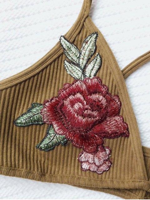 new Flower Applique Bralette Top - DARK KHAKI ONE SIZE Mobile