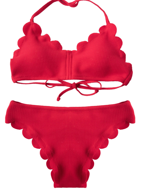 new Scalloped Hem Halter Bikini - RED L Mobile