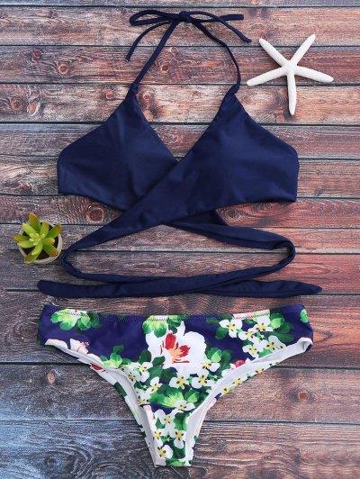Halter Floral Wrap Bathing Suit - Royal