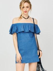 Mini Ruffles Off The Shoulder Dress - Blue