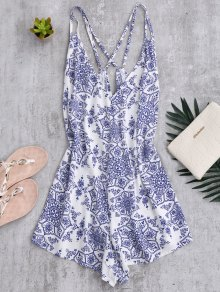 Back Crossed Printed Romper - Blue And White