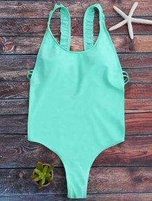Cross Back Ruffles Thong Swimwear - Green