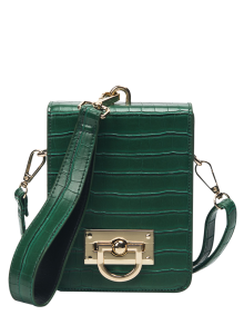 Metal Detail Mini Crossbody Wristlet Bag - Green