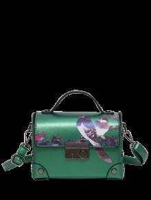 المعادن التفاصيل الطيور طباعة حقيبة يد - أخضر