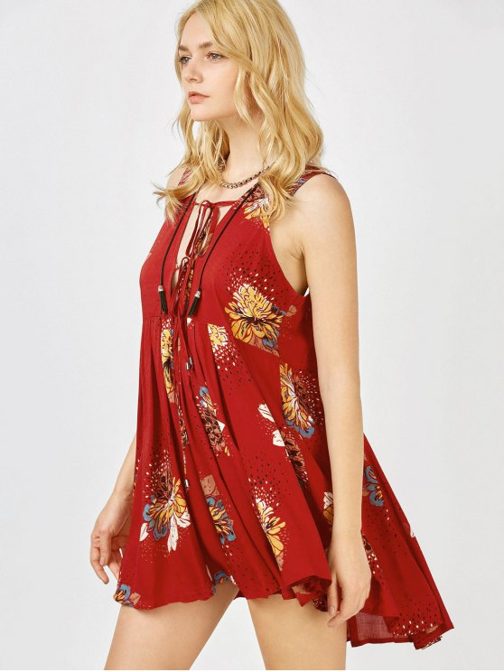 Floral Print Mini Plunge Sundress - BURGUNDY L Mobile